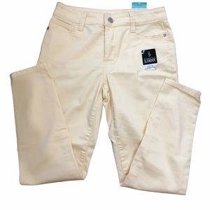 St John's Bay Pastel Yellow Skinny Jeans Mid-Rise
